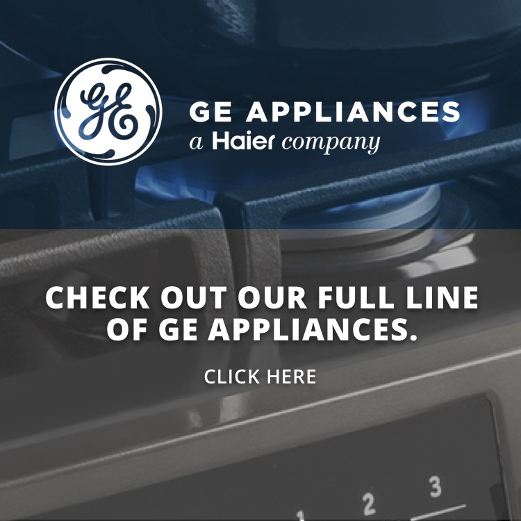 GE logo with food in a pan being cooked on a stove