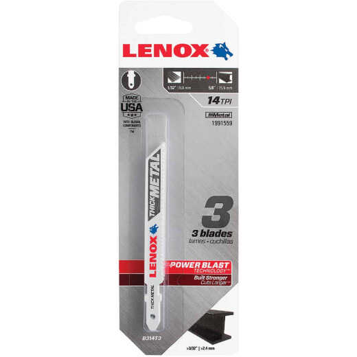 Lenox T-Shank 3-5/8 In. x 14 TPI Bi-Metal Jig Saw Blade, Thick Metal Greater Than 3/32 In. (3-Pack)